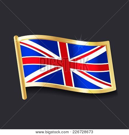 Flag Of   United Kingdom In The Form Of Badge, Flat Image