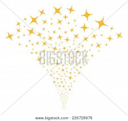 Space Star Stream Fountain. Vector Illustration Style Is Flat Iconic Symbols. Object Fountain Made F