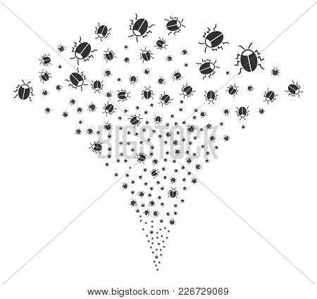 Bug Exploding Fountain. Vector Illustration Style Is Flat Iconic Symbols. Object Fountain Made From