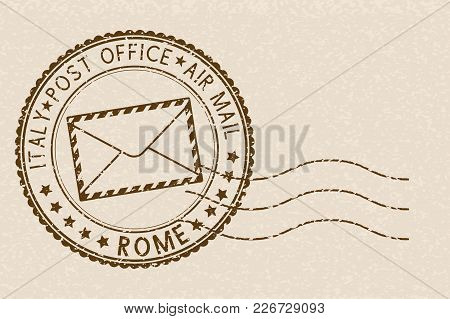 Postal Stamp, Round Brown Postmark With Envelope Icon. Rome, Italy. Vector Illustration