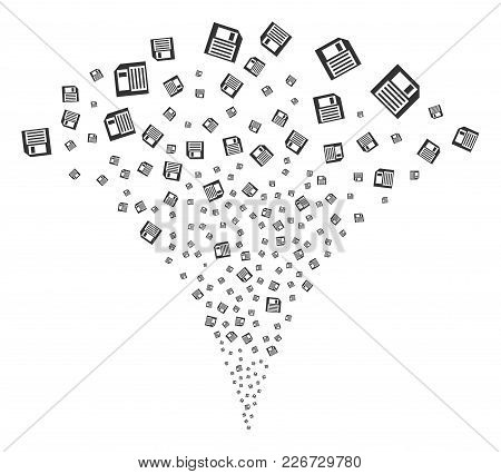 Floppy Disk Fireworks Fountain. Vector Illustration Style Is Flat Iconic Symbols. Object Fountain Co