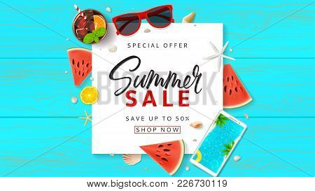 Summer Sale Promo Web Banner. Top View On Sun Glasses, Watermelon Pieces, Cocktail, Smartphone, Oran