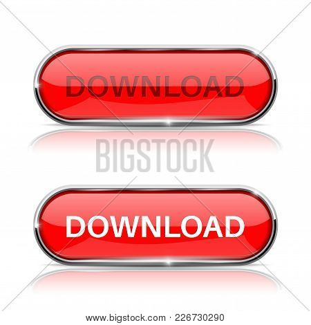 Download Button. Shiny Red Oval Web Icon. Vector 3d Illustration Isolated On White Background
