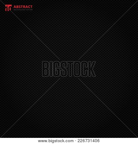 Black Square Geometric Pattern, Carbon Fiber On Dark Background And Texture. Vector Graphic Illustra