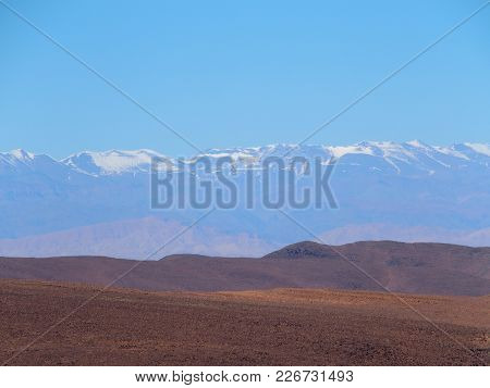 High Atlas Mountains Range Landscapes In Central Morocco Seen From Location Near Zagora City In Cent