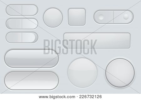 Collection Of White Plastic Interface Buttons. Vector Illustration
