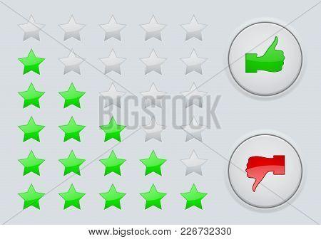 Rating Green Stars. Interface Element. Vector Illustration