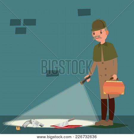 Crime Scene Vector. Detective At Crime Scene. Flat Cartoon Illustration
