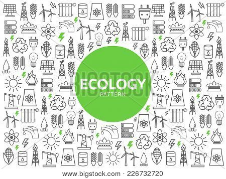Ecology Line Icons Pattern With Energy Safety Electricity Environmental Resource Eco Elements And Sy