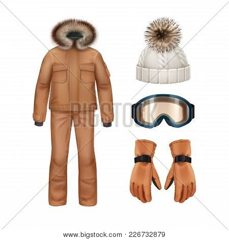 Vector Sport Winter Apparel Set: Brown Coat With Fur Hood, Pants, Gloves, White Knitted Cap And Gogg