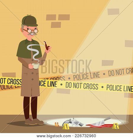 Crime Scene Vector. Detective Character Man. Crime Scene Investigation. Snoop, Shamus. Flat Cartoon
