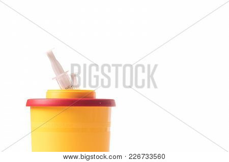 Medcal Waste Container With Used Syringe Isolated On White