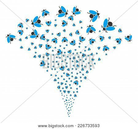 Fly Insect Burst Fountain. Vector Illustration Style Is Flat Iconic Symbols. Object Fountain Constru