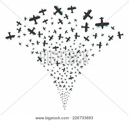 Aircraft Explosion Fountain. Vector Illustration Style Is Flat Iconic Symbols. Object Fountain Combi