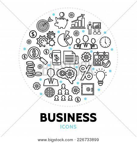 Business Round Concept With Teamwork Calendar Piggy Bank Gears Bulb Safe Coins Mobile Chart Magnifie