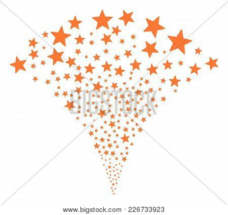 Fireworks Star Stream Fountain. Vector Illustration Style Is Flat Iconic Symbols. Object Fountain Co