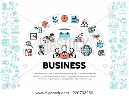 Business Management And Finance Elements Template With Colorful And Blue Line Icons Isolated Vector