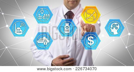 Unrecognizable Pharmaceutical Scientist Touching Virtual Break Even Chart Icon. Concept For Initial