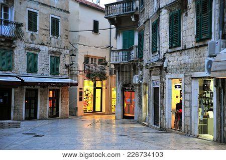 Split, Croatia - February 17: Night View Of City Center Of Split, Croatia On February 17, 2017. Spli