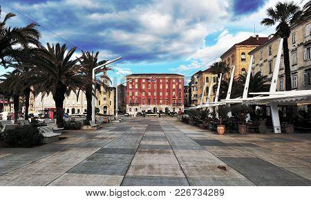 Split, Croatia - March 8: View Of Embankment In Split City, Croatia On March 8, 2017. Split Is A Cap