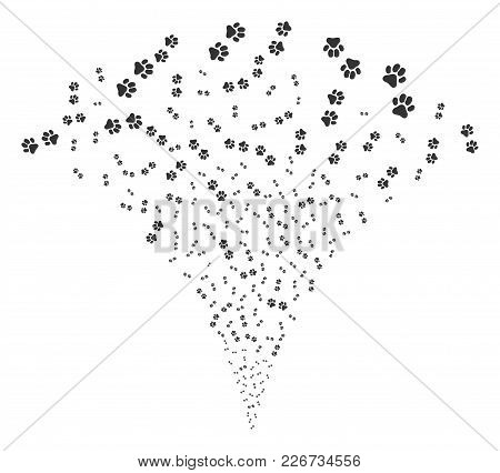 Paw Footprints Stream Fountain. Vector Illustration Style Is Flat Iconic Symbols. Object Fountain Co