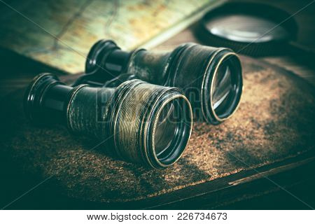 Old Binoculars Covered With Patina.