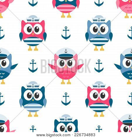 Pattern With Cute Owls Sailors And Anchors