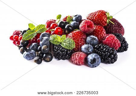 Mix Berries Isolated On A White. Ripe Blueberries, Blackberries, Raspberries, Currants And Strawberr