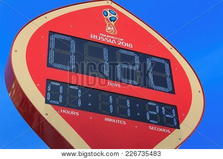 Moscow, Russia - February 14, 2018: Countdown Timer Prior To Starting Of The Championship Fifa World