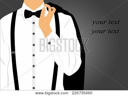 Black Suit With Bow Tie On Postcard.