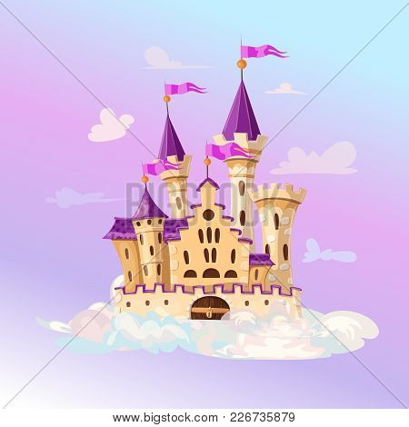 Fairytale Cartoon Castle. Cute Cartoon Castle. Fantasy Flying Island With Fairy Tale Palace In Cloud