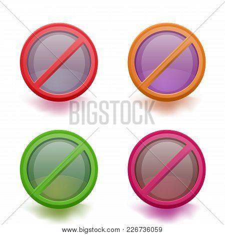No Sign Set. Forbiddance Icon. Vector Illustration.