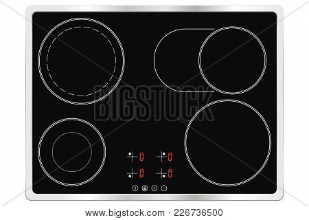 Electric Ceramic Oven. Cooktop. Vector Illustration Isolated On White Background