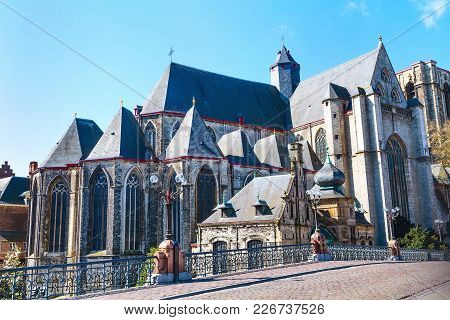 Medieval St. Michael Church In Downtown Of Ghent, Belgium