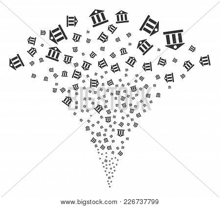 Bank Building Fireworks Fountain. Vector Illustration Style Is Flat Iconic Symbols. Object Fountain