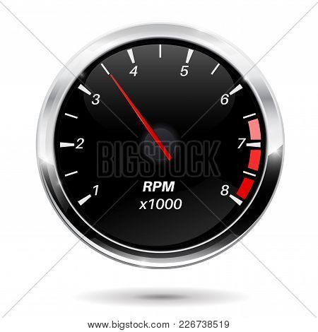 Tachometer. Car Dashboard Gauge. Vector Illustration Isolated On White Background