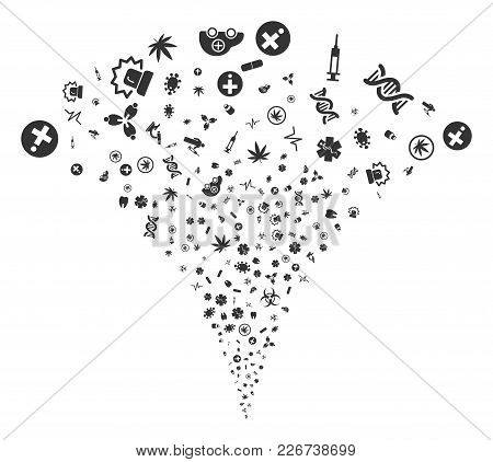 Medical Symbols Fireworks Fountain. Vector Illustration Style Is Flat Iconic Symbols. Object Fountai
