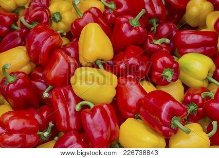 Close Up Red End Yellow Bell Pepper