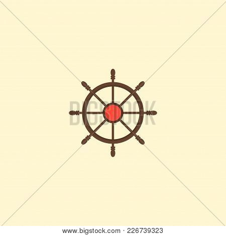 Controlling Helm Icon Flat Element. Vector Illustration Of Controlling Helm Icon Flat Isolated On Cl