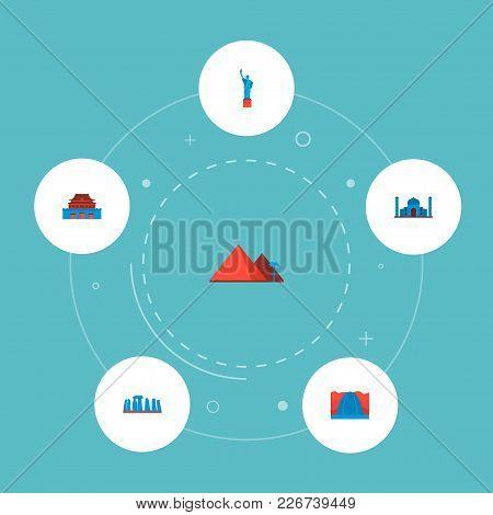 Set Of Landmarks Icons Flat Style Symbols With Taj Mahal, Statue Of Liberty, Stonehenge And Other Ic