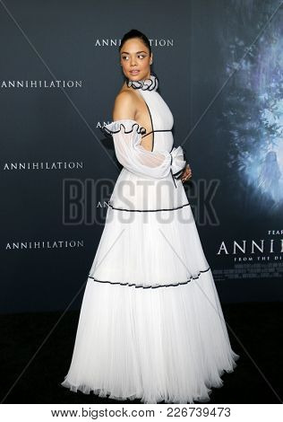 Tessa Thompson at the Los Angeles premiere of 'Annihilation' held at the Regency Village Theater in Westwood, USA on February 13, 2018.