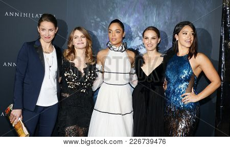 Tuva Novotny, Jennifer Jason Leigh, Tessa Thompson, Natalie Portman and Gina Rodriguez at the LA premiere of 'Annihilation' held at the Regency Village Theater in Westwood, USA on February 13, 2018.