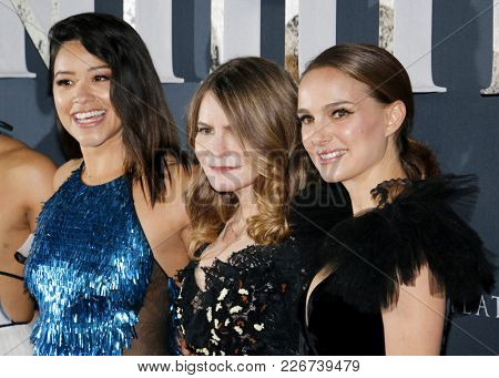 Jennifer Jason Leigh, Natalie Portman and Gina Rodriguez at the Los Angeles premiere of 'Annihilation' held at the Regency Village Theater in Westwood, USA on February 13, 2018.