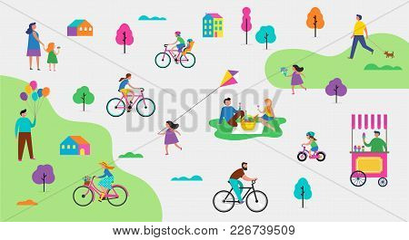 Summer Outdoor Scene With Active Family Vacation, Park Activities Illustration With Kids, Couples, F