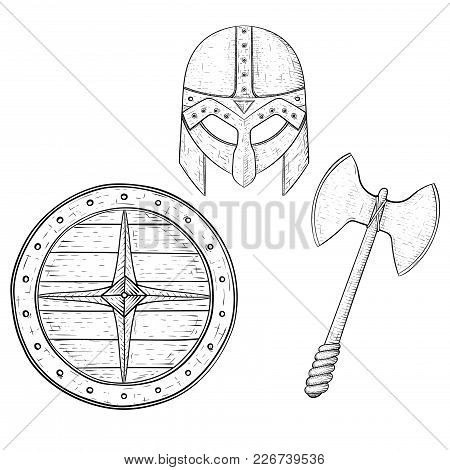 Viking Warrior Set - Shield, Two Bladed Axe And Helmet. Hand Drawn Sketch. Vector Illustration Isola