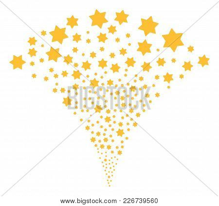 Six Pointed Star Stream Fountain. Vector Illustration Style Is Flat Iconic Symbols. Object Fountain