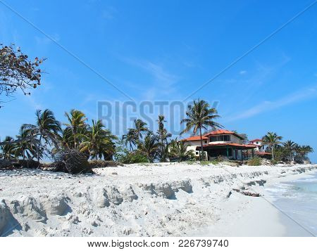 Home At Sandy Beach At Caribbean Sea In Varadero City In Cuba With Clear Water On Seaside Landscape