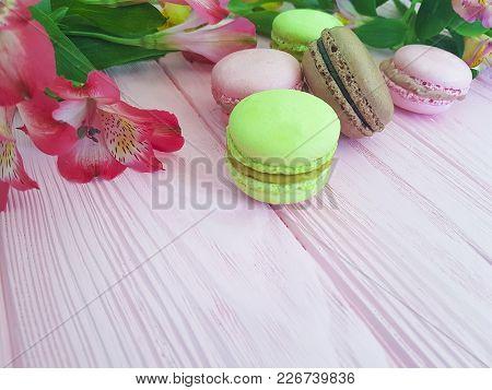 Macaron Wooden Background, Flower, Alstroemeria Wood, Nobody, Cocoa