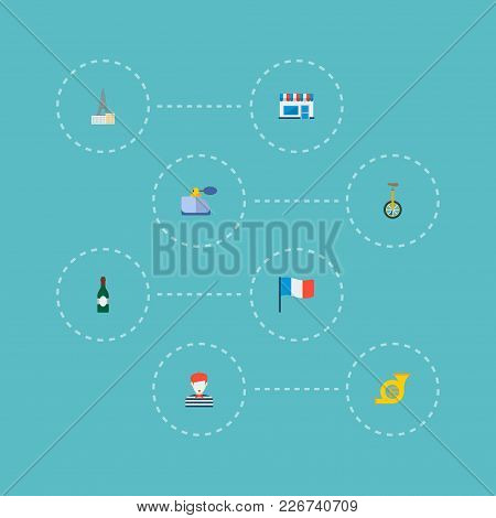 Set Of Country Icons Flat Style Symbols With Monocycle, Perfumery, Wine And Other Icons For Your Web