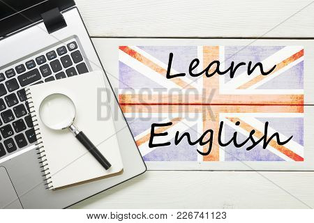 Learn English Concept. Time To Learning Languages.